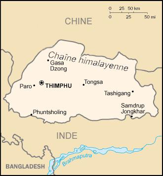 Carte du Bhoutan : Le parcours