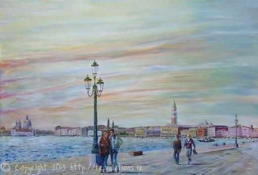 Peinture à huile : Venise la promenade sur le quai