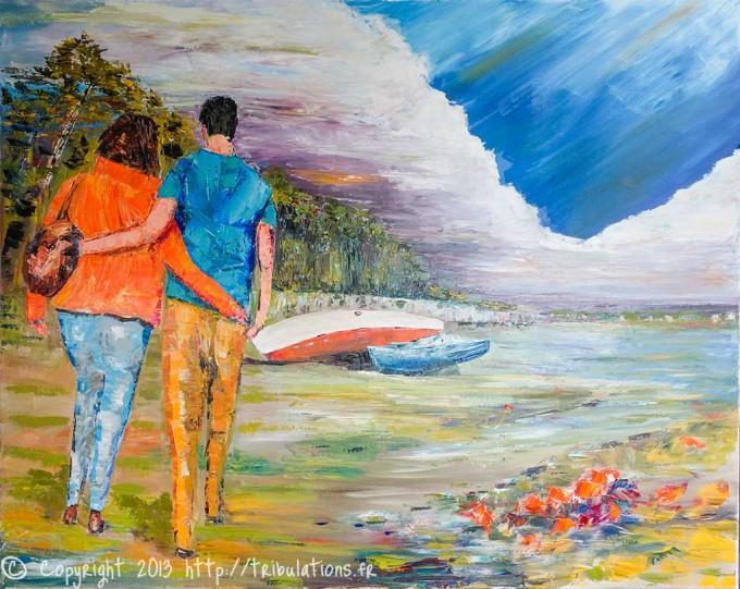 Peinture au couteau : Promenade le long des sentiers côtiers