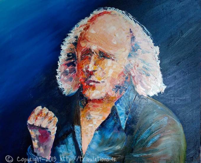 Portrait peinture à l'Huile de Léo Férré