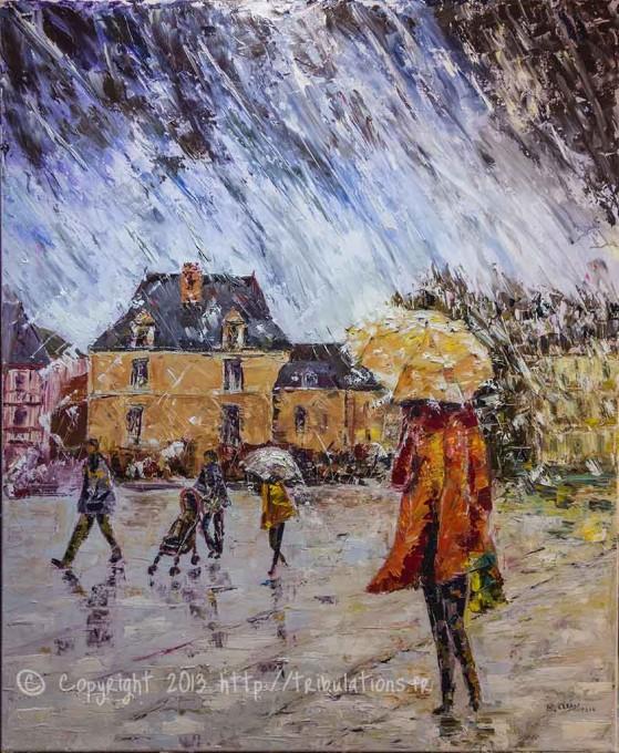 Pluie sur l'esplanade au port de Vannes