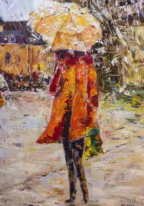 Détail la femme en rouge au parapluie