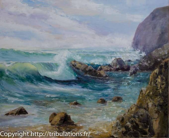 La vague, huile sur toile 73 cmx60 cm