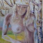 Femme née de la nature, huile sur CP 1.20m x 50 cm