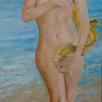 Femme née des vagues, huile sur CP 1.20m x 50 cm