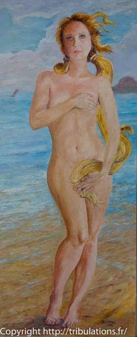 Beauté : Femme née des vagues, huile sur CP 1.20m x 50 cm