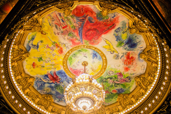 Le plafond de la salle de spectacle de l'Opéra Garnier : peint par Marc Chagall en 1964.