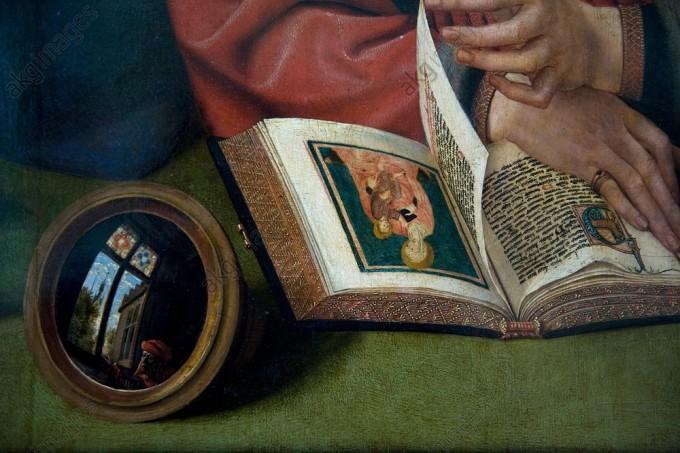 """Détail du tableau """"Le Préteur et sa femme"""" avec le miroir oeil de sorcière"""