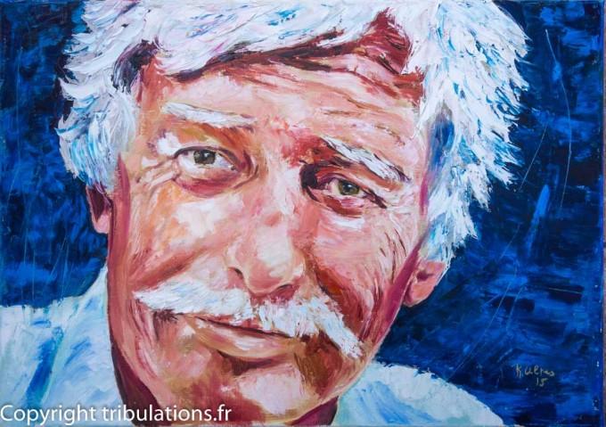 Portrait de Jean Ferrat, Peinture - Tableau - Huile au couteau sur toile 65x46 cm