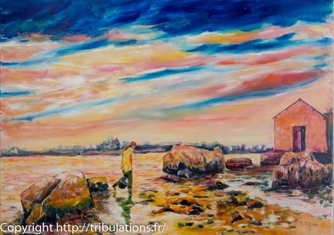 Peinture, tableau : Coucher de soleil à Langle-50x70