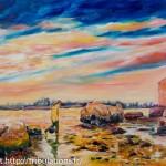Coucher de soleil à Langle Séné huile 50x70
