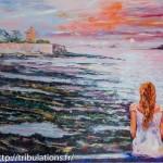 Coucher de soleil à Portivy huile sur toile de 116x73 cm