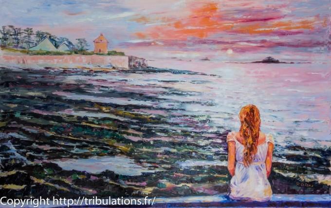 Peinture : Coucher de soleil à Portivy huile sur toile de 116x73 cm