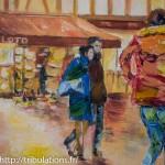 couple enlacé, s'éloignant détail Place Henri IV, Vannes