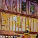 Maisons à colombage éclairées par la lumière, détail Place Henri IV, Vannes