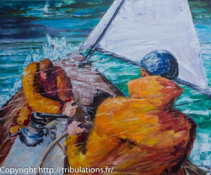 Peinture, tableau : La mer est montée et le voilier continue son abattée !