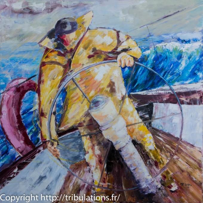 Peinture tableau : Manoeuvre à la barre. Acrylique et huile sur toile 60x60 cm.