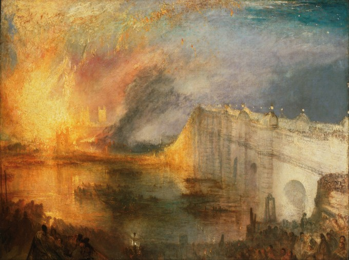 Joseph Mallord William Turner Incendie du Parlement à Londres 1835.