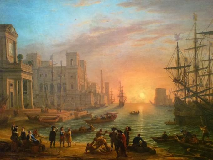 Claude Gellée (le Lorrain) - Port de mer au soleil couchant - 1639 Huile sur toile (1x1,35m) Paris, musée du Louvre