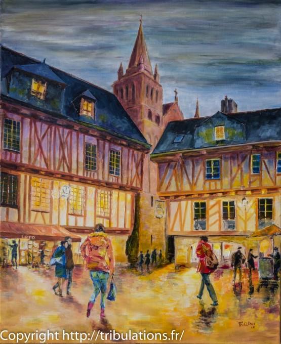 Lumière de ville Place Henri IV, Vannes huile sur toile 60x73