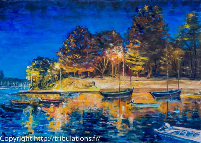 Lumière au lever du jour : Port Anna à l'aube huile sur toile 65x46