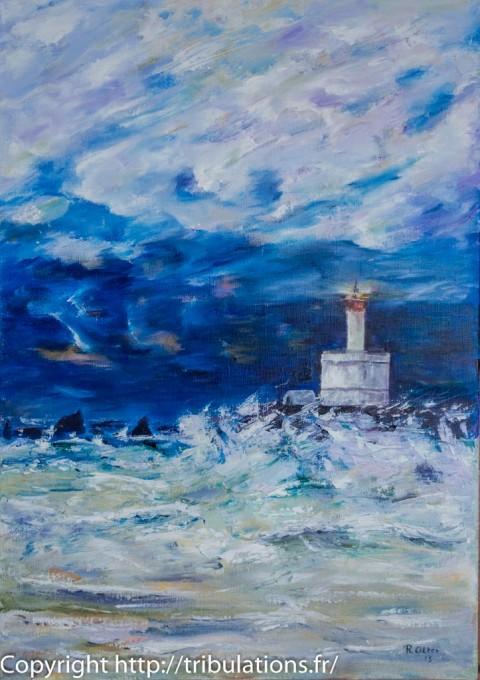 Peinture Tableau : Phare de la Teignouse avec un fort vent à contre-courant 46x55 cm