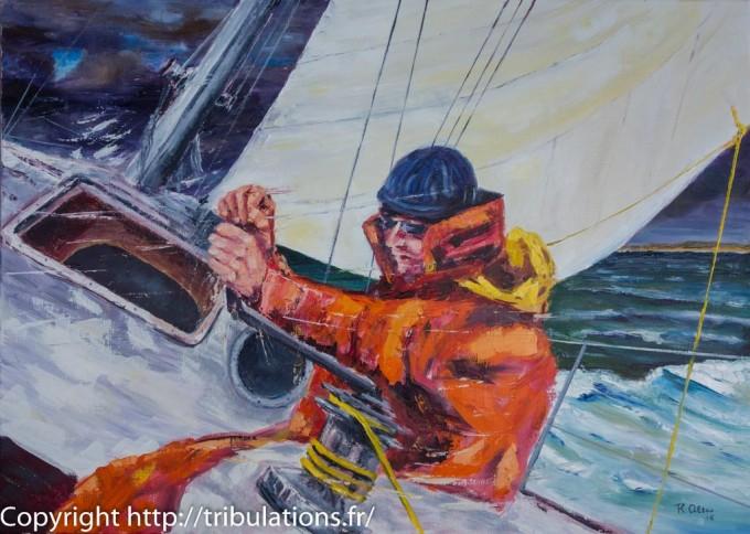 Tableau : Border la voile à la gite huile sur toile 70x50 cm