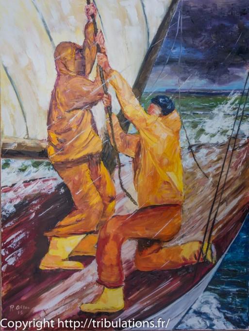 Peinture Tableau : affaler la toile huile sur toile 80x60 cm