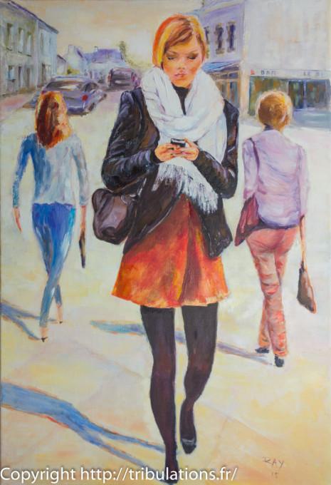 La rue et la jeune femme aux collants noirs