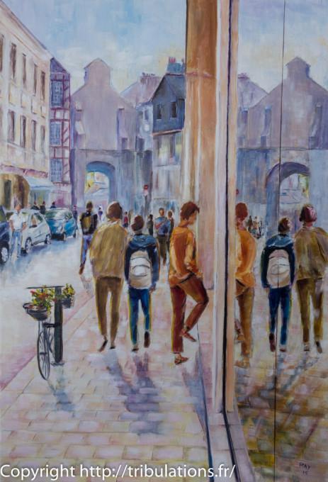Scène de rue et effet miroir