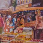 Novelles toiles : Ambiance marché, huile sur toile, 50x73 cm