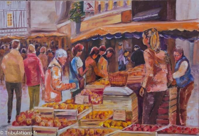 """Nouvelles toiles : """"Ambiance marché"""", huile sur toile, 50x73 cm"""