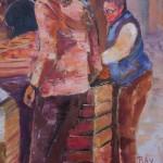 """Détail du tableau"""" ambiance marché"""" : les deux vendeuses"""