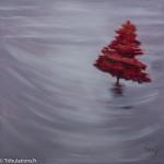Rouge, peinture acrylique sur toile 6Ox60 cm