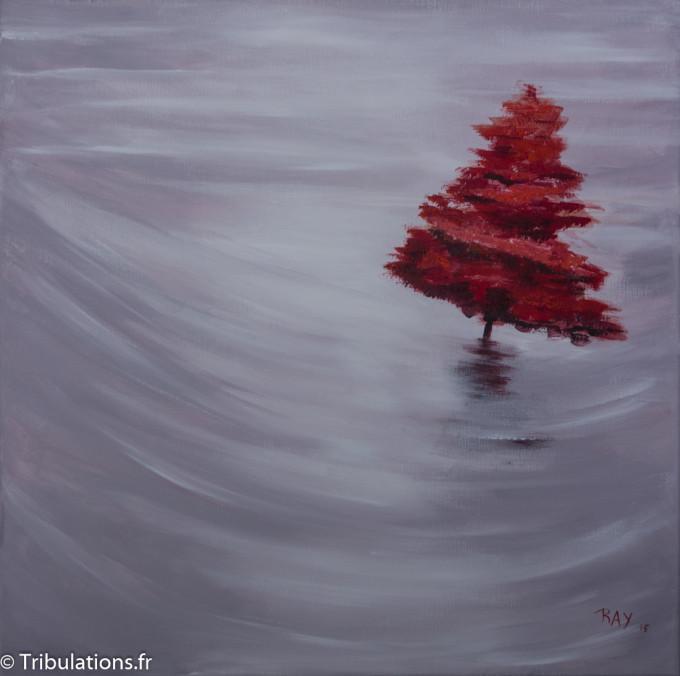 """Tableau : """"Rouge"""", peinture acrylique sur toile 6Ox60 cm"""