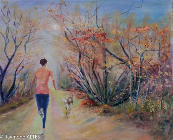 Peintures de Raymond Altès : La joggeuse