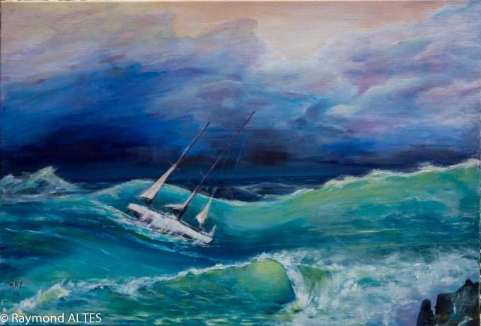 Peintures de Raymond Alès : Vagues à Nazaré