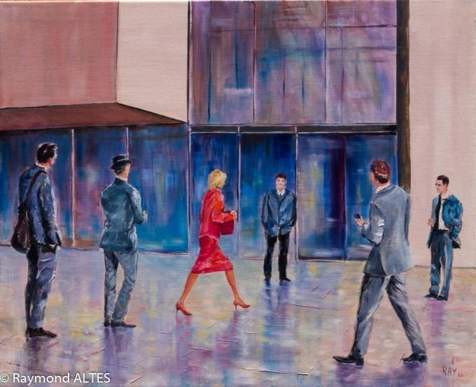 """Peinture de Raymond Altes titre """"Entre rouge et gris"""""""