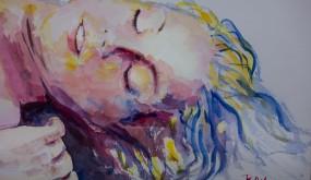 Raymond Altès : Aquarelle femme endormie