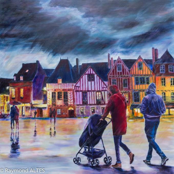 Scènes de rue : Esplanade du port de vannes, tableau de Raymond ALTES