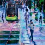Le tram coupe la rue Siam