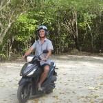 Sur le scooter