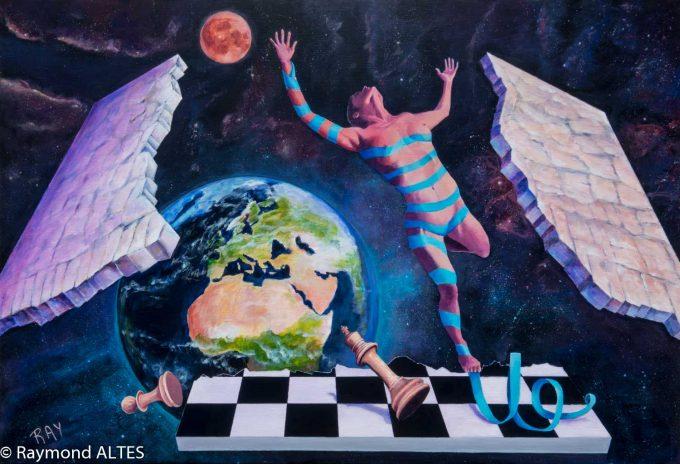 """""""Le ruban bleu"""" tableau de Raymond ALTES ou le surréalime de Raymond ALTES"""