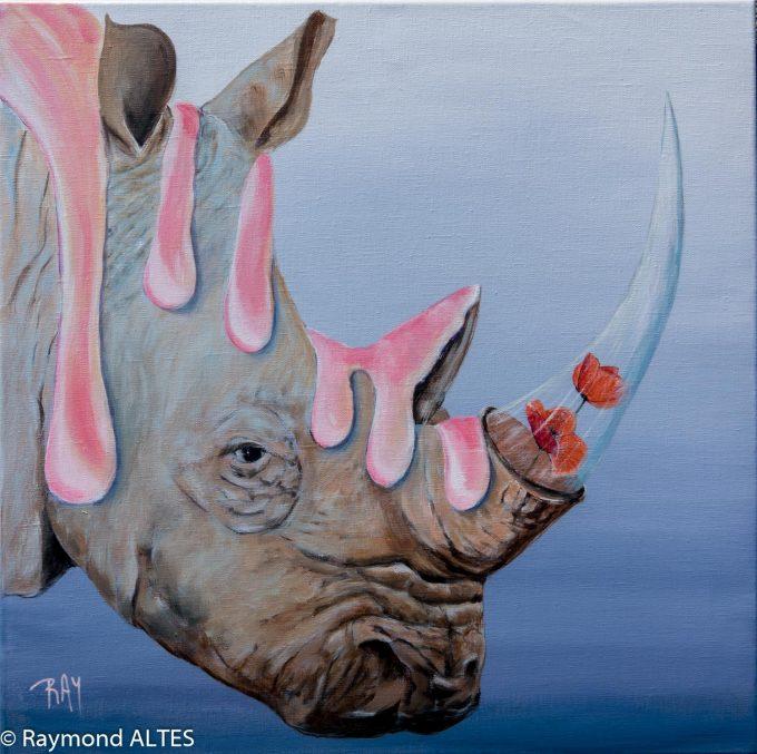 """Espèces menacées Le rhinocéros - titre :""""Aphrodisiaque"""" tableau de Raymond ALTES"""