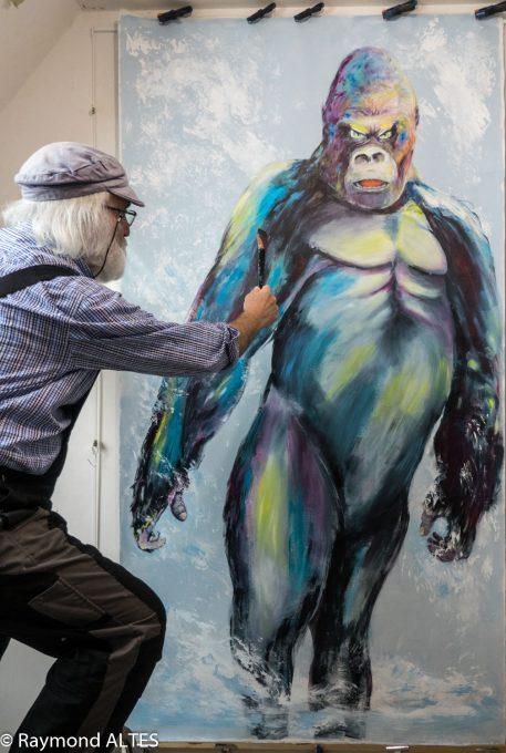"Tableau de Raymond ALTES ""Gare au gorille""."