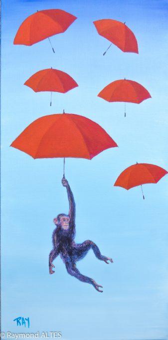 """Titre du tableau : """"Il pleut des parapluies"""" de Raymond ALTES"""