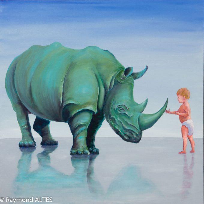 """Espèces menacées : """"Ceci n'est pas un rhinocéros"""" tableau de Raymond ALTES"""
