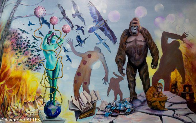 "Tableau de Raymond Altes "" Un monde malade"""